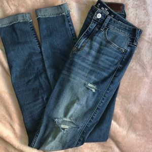 Hollister High Rise Super Skinny Ripped Jeans